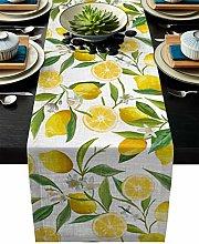 Xspring Yellow Lemon Linen Burlap Dresser Scarves