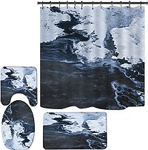 XST 4 Piece Shower Curtain Set Teal Marble