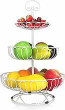 XT 3-Tier Wire Fruit Basket Stand Modern Fruit