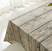 XUDOAI Vintage Rectangle Linen Tablecloth, Wood
