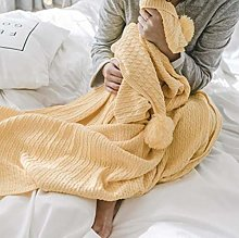 XUE-BAI 100% Cotton Knit Throw Blanket,Solid
