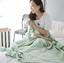 XUE-BAI Cable Knit Throw Combed Cotton Soft and