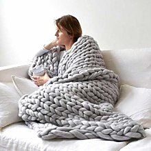 XUE-BAI Chunky Knitted Blanket Acrylic Blend Arm