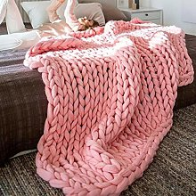 XUE-BAI Chunky Knitted Blanket Merino Wool Blend