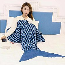 XUE-BAI Handmade Knitted Mermaid Tail Blanket,Warm