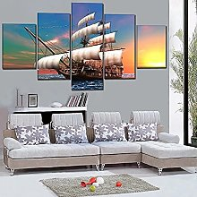 XUEI Classic Retro Sailboat Painting 5 Piece