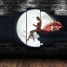 XUEI Girl Moon Shadow Print Painting Canvas 5