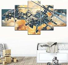 XUEI Helicopter War 5 Piece Modern Wall Art