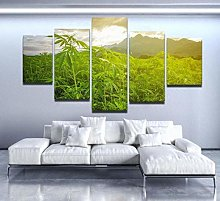 XUEI Print Painting Canvas 5 Pieces Cannabis