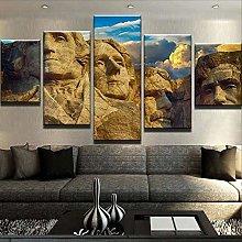 XUEI Print Painting Canvas 5 Pieces Mount Rushmor