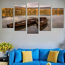 XUEI Print Painting Canvas 5 Pieces Row Boats In