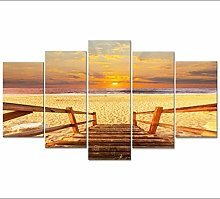 XUEI Print Painting Canvas 5 Pieces Sunset Beach