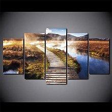 XUEI Print Painting Canvas 5 Pieces Wooden Walkway