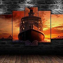 XUEI Ship On Nile River Sunset Print Painting