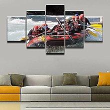 XUEI Sports White Water Rafting Print Painting