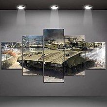 XUEI Tank War 5 Piece Modern Wall Art Abstract