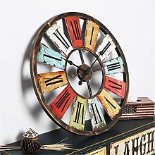 XUEXIONGSP 26 Inch Metal Wall Clocks Retro Roman