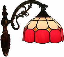 XUHRA 8 Inch Tiffany Style Wall Lamp Stained Glass