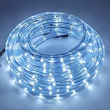 XUNATA 10m Flexible Round LED Strip Cold White, AC