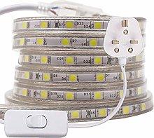 XUNATA 30m 5050 LED Strip White with Switch (80cm