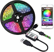 XUNATA USB Powered RGB LED Strip, Music Sync &
