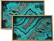 XuZeLii Decorative Tray Light Green Marble Ink