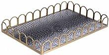 XuZeLii Decorative Tray Metal Leather Fruit Tray