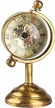 XVCHQIN Spinning Globe Gold Desk Clock for Men