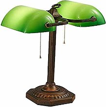 XWZH Retro Bankers Office Table Lamp,Double Head