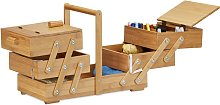 XXL Bamboo Sewing Box, Many Compartments,