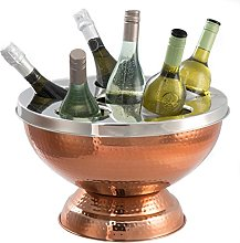 XXL Copper Wine Cooler and 6 Bottle Polished Steel