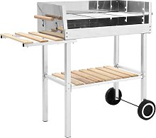 XXL Trolley Charcoal BBQ Grill Stainless Steel