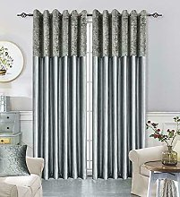 XXR Crushed Velvet Band Curtains PAIR Eyelet Faux