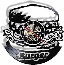 XYLLYT Burger Clock Wall Home Decor Vinyl Record
