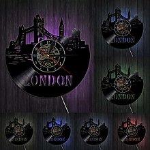 XYLLYT London Skyline Wall Art Wall Clock UK Vinyl