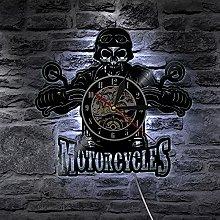 XYLLYT Motorcycle skull vinyl record wall clock