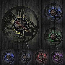 XYLLYT Pizza Time Wall Clock Pizza Shop Foodie