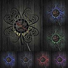XYLLYT Shamrock Clover Wall Clock Flag Retro Vinyl