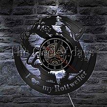 XYLLYT Wall clock dog puppy vinyl record wall