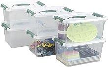 Xyskin 6 L Small Plastic Storage Box, Latch Lidded