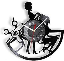 XYVXJ Girl Beauty Hair Salon Wall Clock Barber
