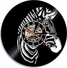 XZXMINGY 12 inch clockZebra Vintage Vinyl Record