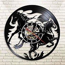 XZXMINGY Vinyl Clock Christmas Black Horses Vinyl