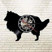 XZXMINGY Vinyl Clock Christmas Collie Dog House