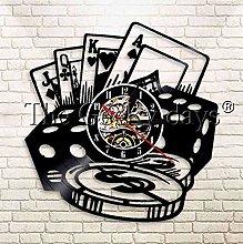 XZXMINGY Vinyl Clock Christmas Gambling Poker Dice