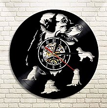 XZXMINGY Vinyl Clock Christmas Labrador Golden