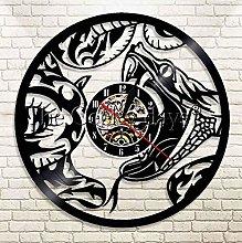 XZXMINGY Vinyl Clock Christmas Snake Silhouette
