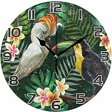 XZY Home Toucan Parrot Round Acrylic Wall Clock