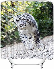 Y·JIANG Animal Shower Curtain Set, Snow Leopard
