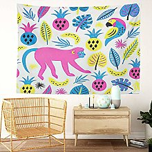 Y·JIANG Animal Tapestry, Monkey Tropical Fruit